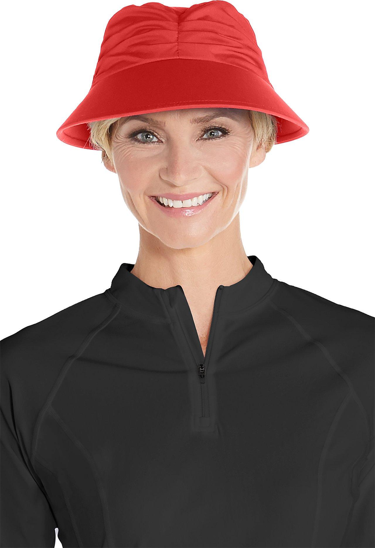 Coolibar UPF 50+ Women's Moraine Swim Visor - Sun Protective (Small/Medium- Poppy Red)