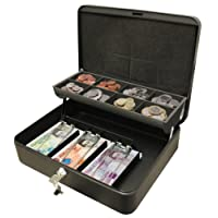 Cathedral Products CBDLBK 12-Inch The Ultimate Cash Box Secure Lock with Coin Tray For Petty Cash - Black