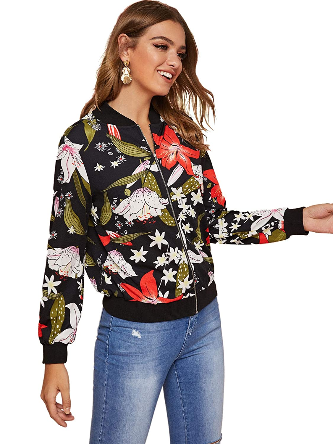 ROMWE Womens Casual Floral Print Zip Up Lightweight Bomber Jacket