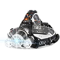 Headlamp, 6000 High Lumens Brightest Head Lamp, 18650 USB Rechargeable LED Work Headlight Flashlight Waterproof…