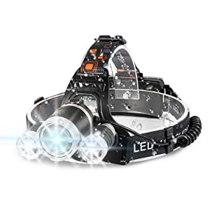 Headlamp, 6000 High Lumens Brightest Head Lamp, LED Work Headlight 18650 USB Rechargeable Waterproof Flashlight 4 Modes Best Headlamps for Running Camping Fishing Hiking Biking