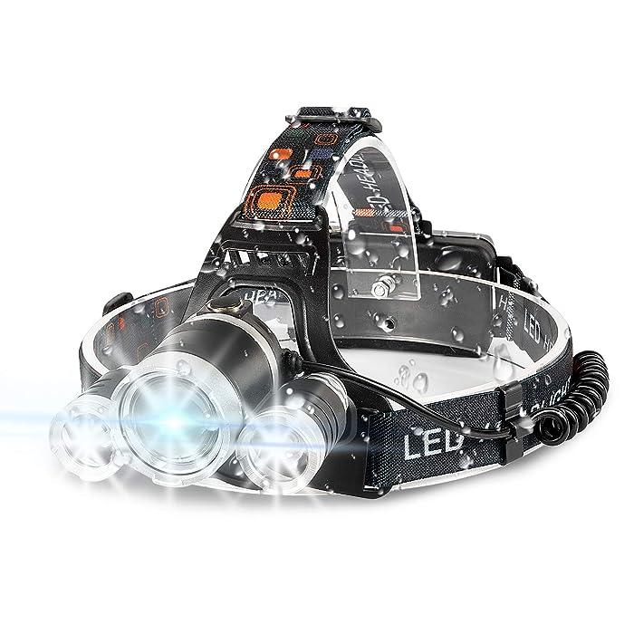 Headlamp, 6000 High Lumens Brightest Head Lamp, LED Work Headlight 18650 USB Rechargeable Waterproof Flashlight 4 Modes Best Headlamps for Running Camping Fishing Hiking Biking