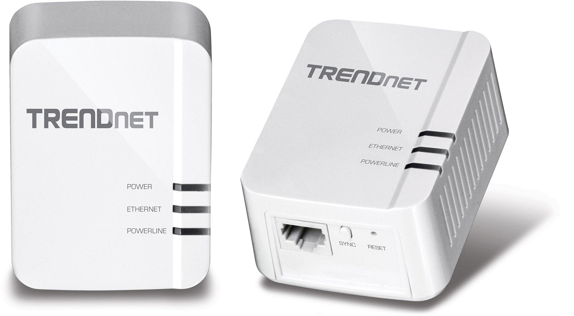 TRENDnet Power Line 1200 AV2 Adapter Starter Kit, 2 Adapters Included with Gigabit Port, Plug and Play, MIMO, Beamforming (TPL-420E2K)