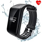 ALANGDUO Fitness Trackers, Heart Rate Monitor Tracker Bluetooth Smart Bracelet Activity Pedometer Waterproof for Android & iOS Smartphones