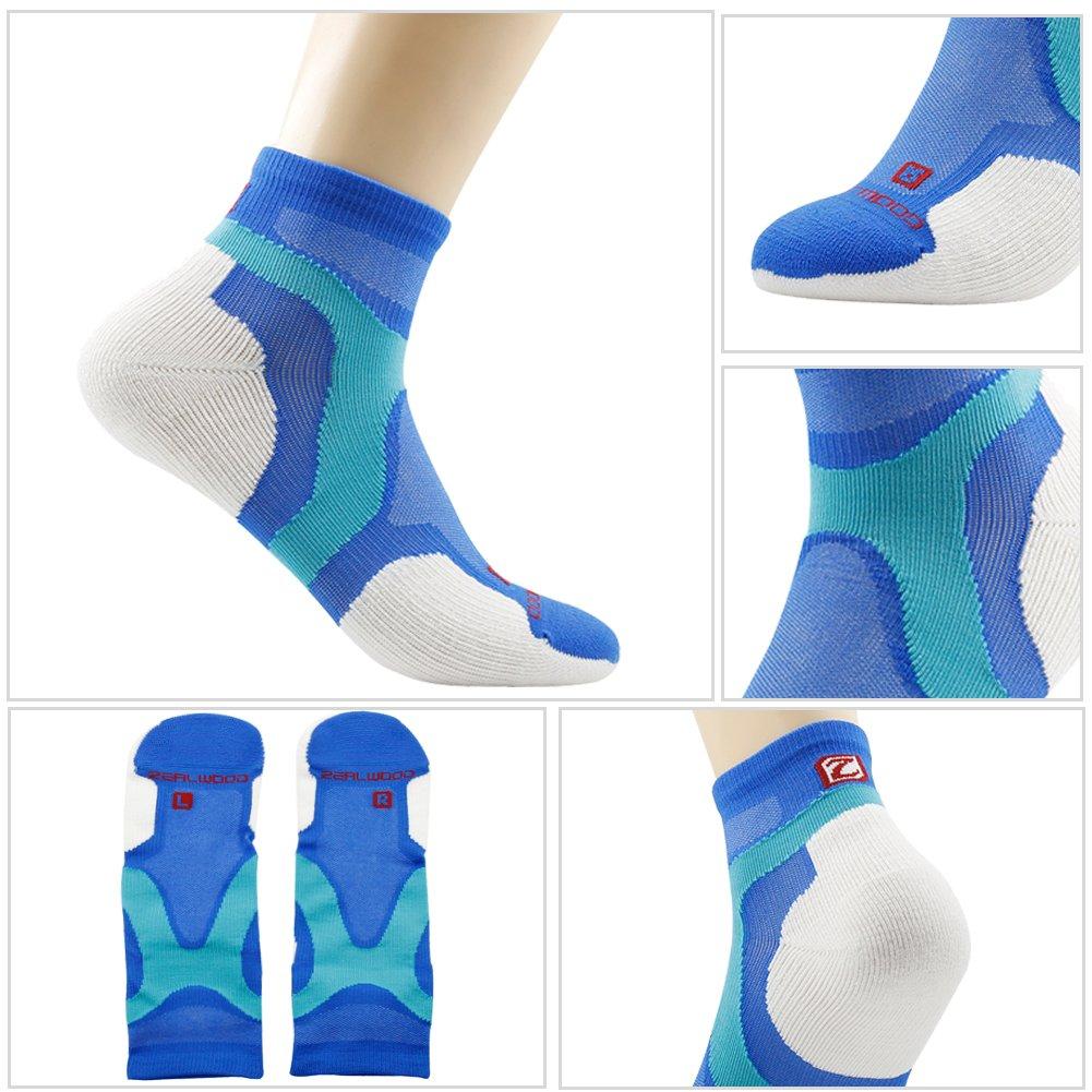 Running Socks, ZEALWOOD Merino Wool Low Cut Cycling Socks for Men and Women,Women Christmas Gifts Christmas Socks Unisex Breathable Sport Socks-Blue/White,Small, 3 Pairs by ZEALWOOD (Image #4)