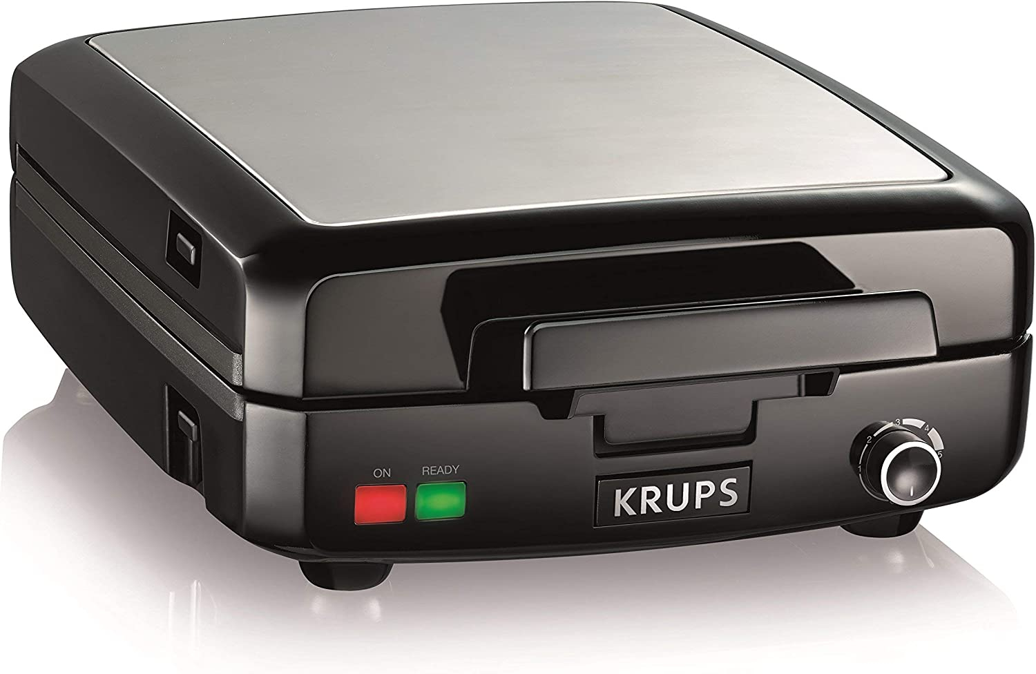 KRUPS Belgian Waffle Maker, Waffle Maker with Removable Plates, 4 Slices, Black and Silver Renewed