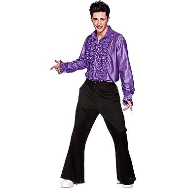 M Mens Purple Disco Ruffle Shirts Costume For 70s Fancy Dress