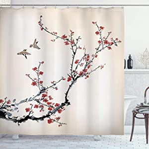 "Ambesonne Nature Shower Curtain, Cherry Branches Flowers Buds and Birds Style Artwork with Painting Effect, Cloth Fabric Bathroom Decor Set with Hooks, 75"" Long, Burgundy Black"