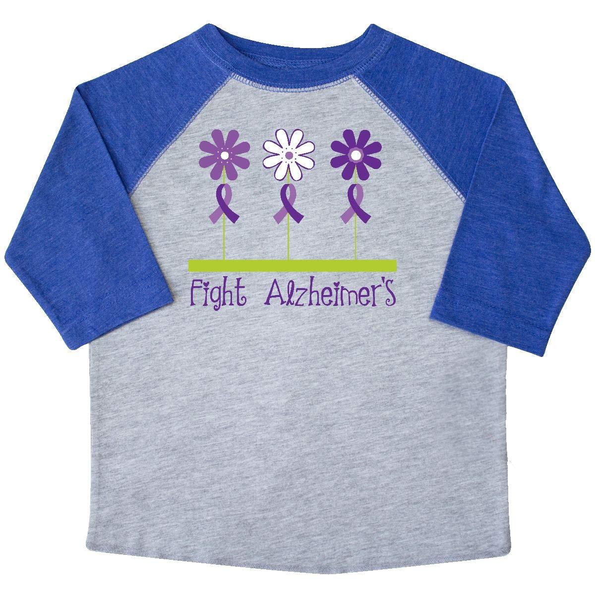 inktastic Fight Alzheimers Awareness Ribbon Flowered Toddler T-Shirt