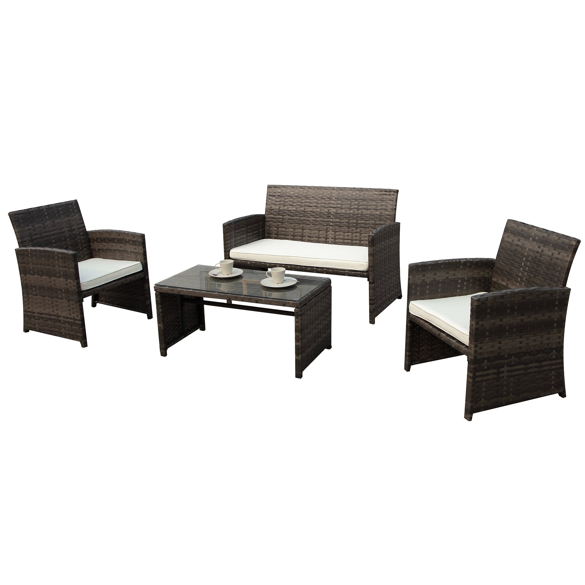PATIOROMA 4pc Rattan Sectional Furniture Set with Cream White Seat Cushions, Outdoor PE Wicker, Gray
