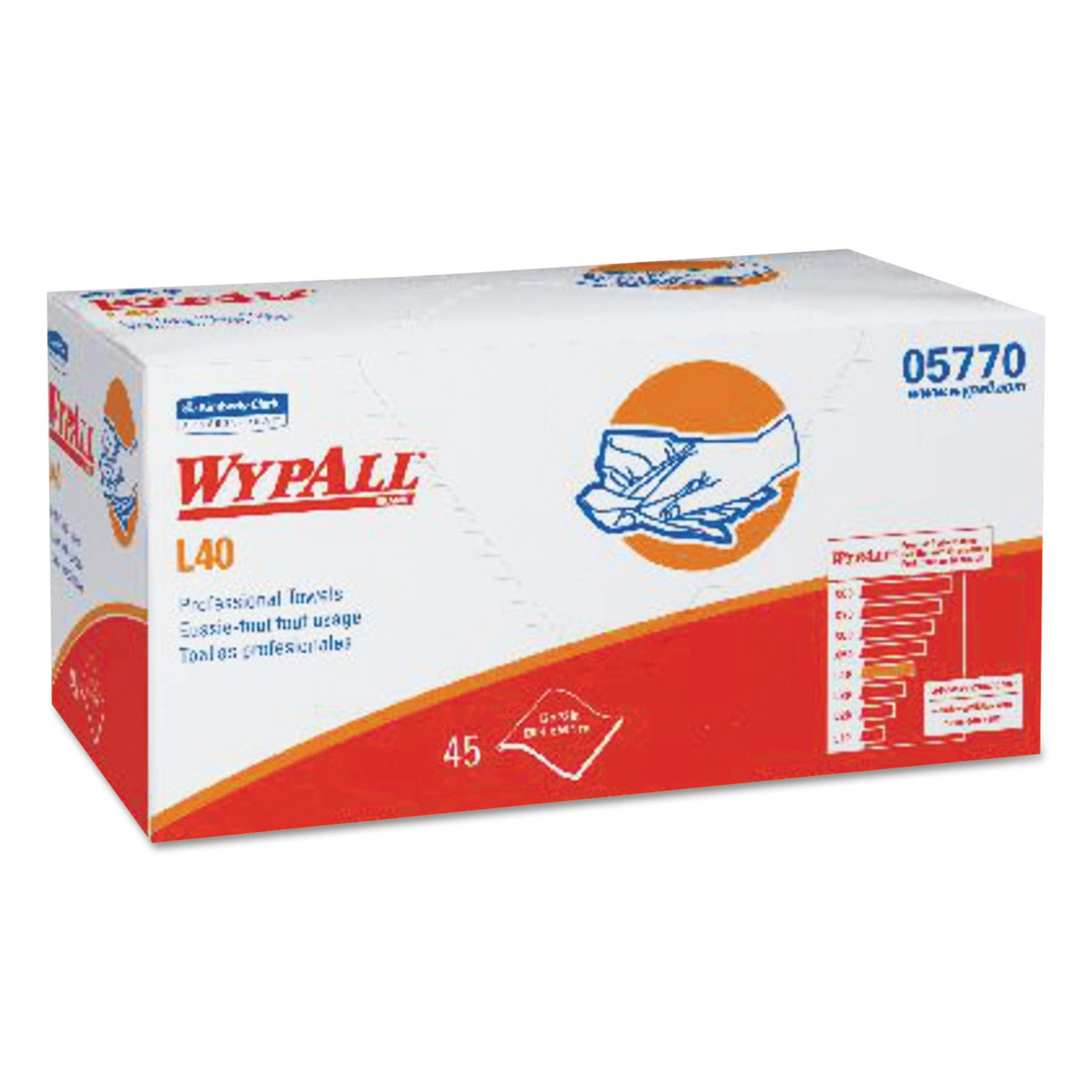 WypAll 05770 L40 Towels, Pro Towels, 12 x 23, White, 45 per Box (Case of 12) by Wypall