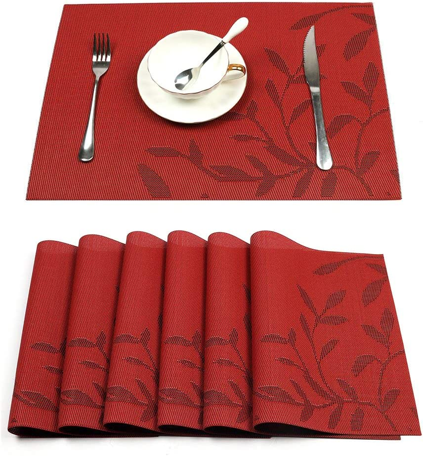 4 6pcs Pink Deer Flamingo PVC Heat Insulation Tableware Table Mats Placemats