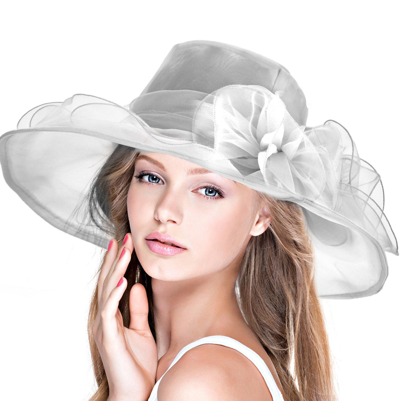 DAFUNNA Pamela ala ancha y flores Organza Seda Sombrero de Sol para Mujer  Boda Derby Church 3e1e759265af
