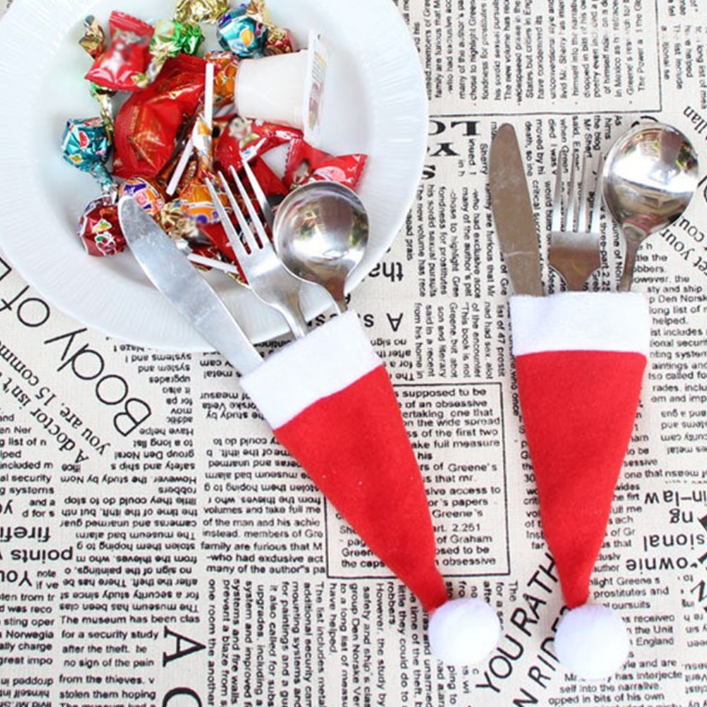 CHoppyWAVE Cutlery Pouch, Christmas Party Decorative Tableware Knife Fork Storage Hat Trendy Xmas Gifts - Red