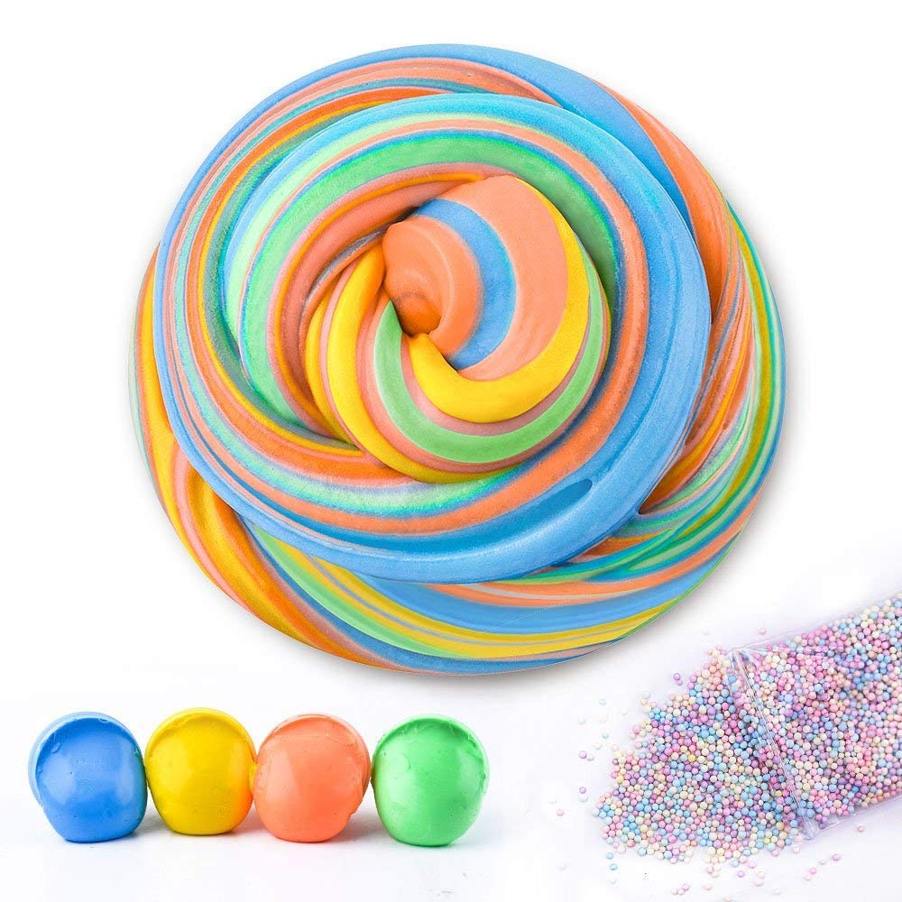 AUNOOL DIY Fluffy Slime, Fluffy Floam Slime Scented Stress Relief Toy for Kids, Super Soft Non Sticky Without Borax (4 Colors)