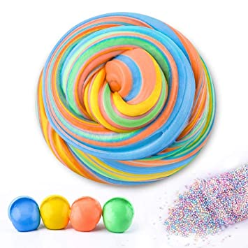 Aunool Diy Fluffy Slime Fluffy Floam Slime Scented Stress Relief Toy For Kids Super Soft Non Sticky Without Borax 4 Colors