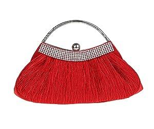 Dressdew Women's Evening Elegant Rhinestone Pleated Cocktail Party Handbag Red