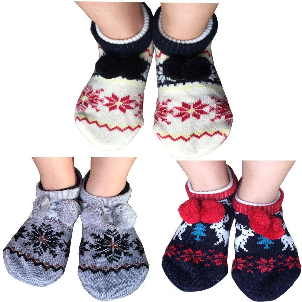 Lucky staryuan 3Pairs Women Non-Skid Floor Sock Thicker Warm House Socks (Style 1)