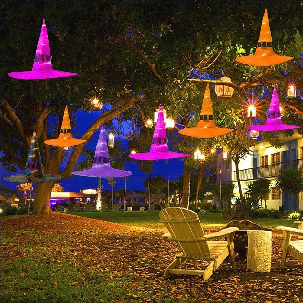 Yard im Freien Garten Bozaap 8Pcs Halloween Weihnachten Dekorationen,H/ängende Beleuchtete Gl/ühende Hexen-H/üte Halloween-Weihnachtsdekorationen mit LED-Lichterketten f/ür Weihnachtsbaum
