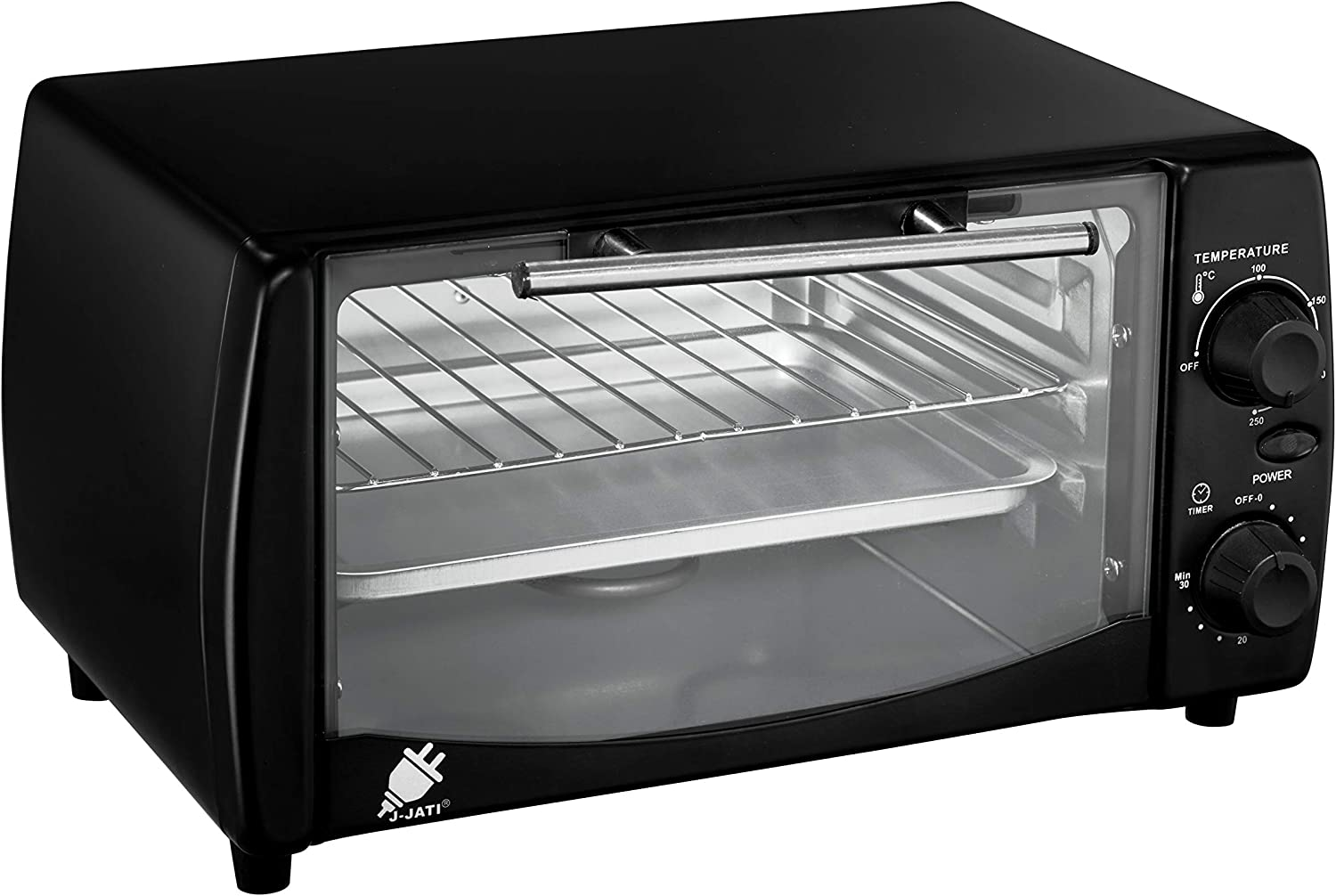 J-Jati Countertop oven, Convection oven, Countertop Toaster Oven Electric. Toast, Bake, and Broil. glass door, Thermostat in celcius, Non-stick tray, Indicator light, 800W, SK-12 (Black)