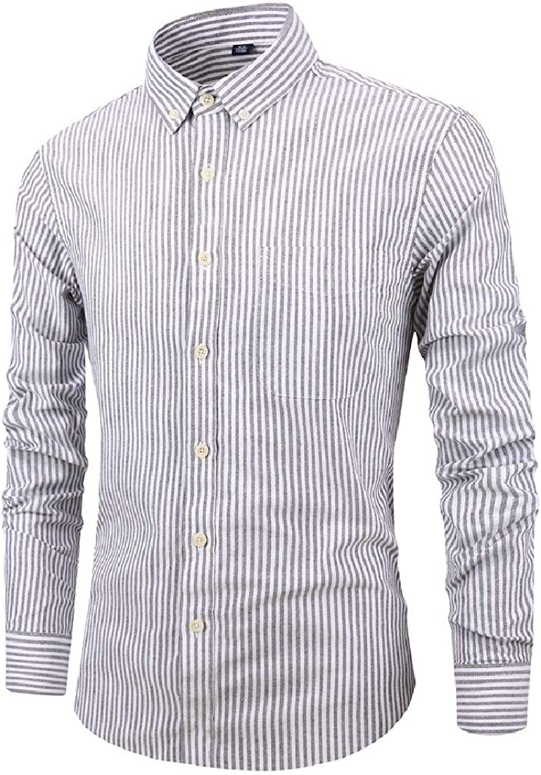 Zantt Mens Casual Long Sleeve Shirts Striped Button Down Baggy Cotton Shirt with Pockets
