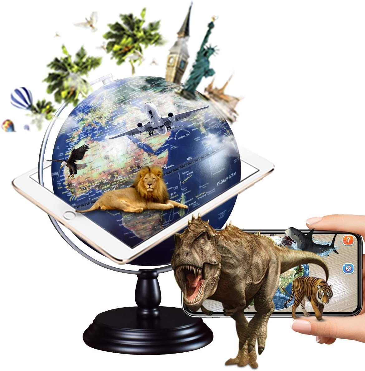 FUN GLOBE AR Explore The World Globe Desktop Education Geographic Interactive Earth Globes for Kids & Adults for Educational Toys/Office Supplies/Indoor Decorations/Holiday Gift (Navy 10 in)