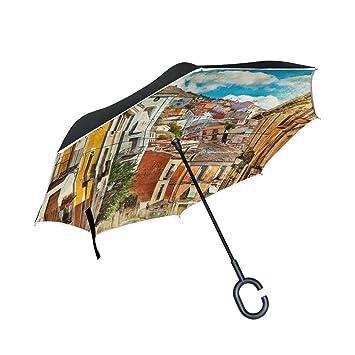 ALAZA Doble Capa invertido Paraguas Paraguas Coches inversa Coloridas Calles y Edificios España Pintura Prueba a