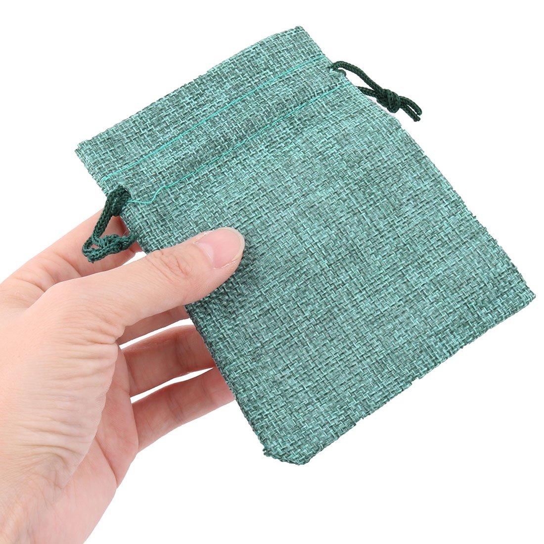 sourcingmap/® Cotton Linen Jewelry Ring Button Coin Storage Holder Drawstring Bag 20pcs Black