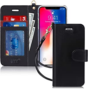 FYY Luxury PU Leather Wallet Case for iPhone X/10/Xs, [Kickstand Feature] Flip Phone Case Protective Folio Cover with [Card Holder][Wrist Strap] for iPhone X/10 (2017)/iPhone Xs (2018) 5.8