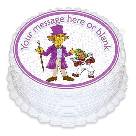 Print4you Nd3 Willy Wonka Cumpleaños Personalizable Redondo