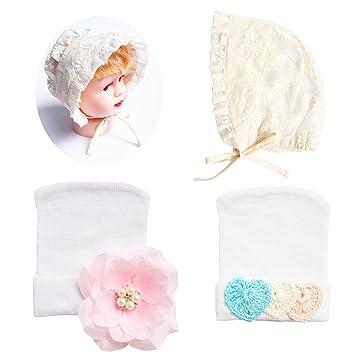 a55ff72fdd9 Amazon.com  RareLove Newborn Hospital Hats Baby Bonnets Set for Preemie Baby  Girls 3PCS  Baby