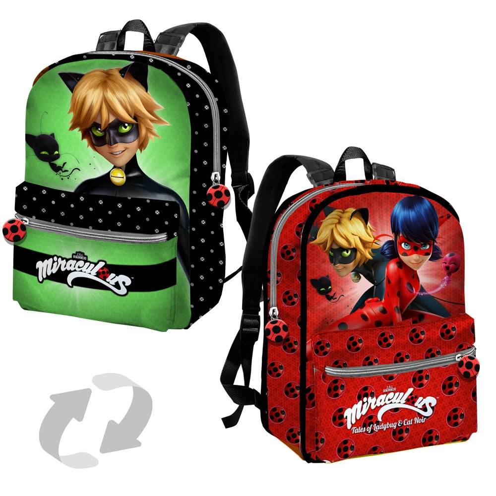 Amazon.com | Miraculous Ladybug / Cat Noir Reversible Backpack With Pocket 38cm | Casual Daypacks