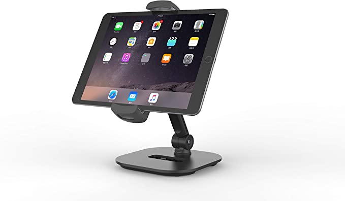 Tablet Stand 360° Swivel iPad Holder Sturdy Aluminum Universal Tablet Mount