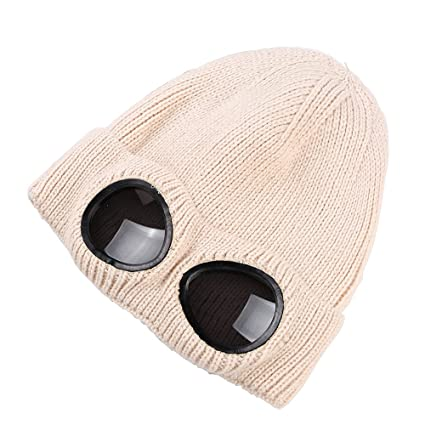 Amazon.com  Unisex Wool Knitted Goggles Beanie 904bd7a1ff9