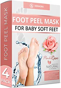 Foot Peel Mask - 4 Pack - For Cracked Heels, Dead Skin and Calluses - Make Your Feet Baby Soft Smooth Silky Skin - Removes Rough Heels, Dry Toe Skin Natural Treatment. (Rose Scent)