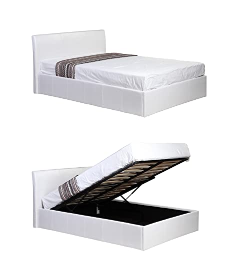Wondrous 3Ft Single White Ottoman Lift Up Storage Faux Leather Bed Also Available In Black Or Brown Master Bedroom Childrens Bedroom Teens Bedroom Guest Andrewgaddart Wooden Chair Designs For Living Room Andrewgaddartcom