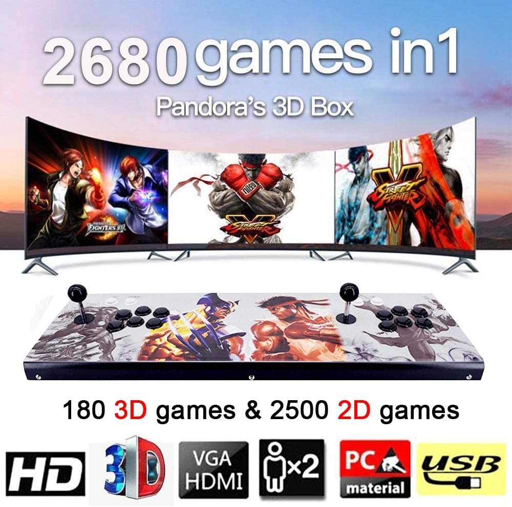 MOSTOP 3D & 2D Arcade Video Game Console 2680 Games in 1 Pandora's Box 180 3D Games 1080P HD 2 Players Arcade Machine with Double Joystick Support Expand 6000+ Games (2680 Hero Street Fighters)