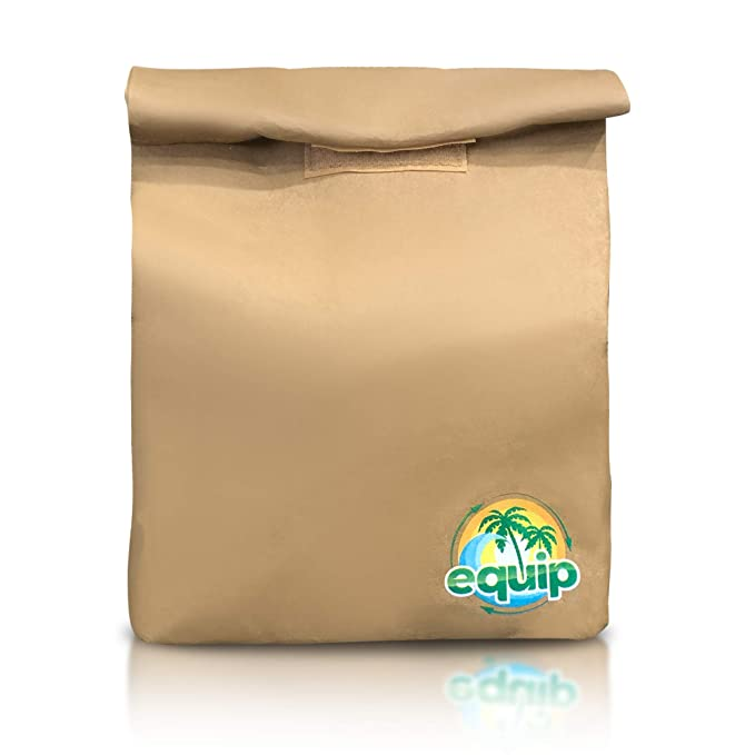Eco-Friendly Durable Reusable Brown Paper Lunch Bag Sack for School or Office