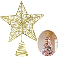 christmas star tree topper glittered metal hallow tree star unique design 8 inches