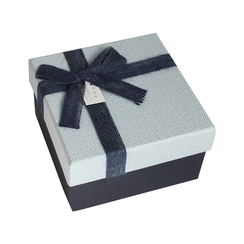 Emartbuy Set di 4 Lusso Rigido Confezione Regalo di Presentazione di Forma Quadrata, Scatola Bianca Con Coperchio Blu, Interiore Marrone Cioccolato e Nastro Decorativo in Tessuto