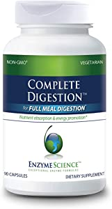 Enzyme Science™ Complete Digestion™, 90 Capsules – Full Support for Digestive Health – for Occasional Gas, Bloating, and Indigestion – Probiotic for Men and Women – Digestive Enzyme Supplement