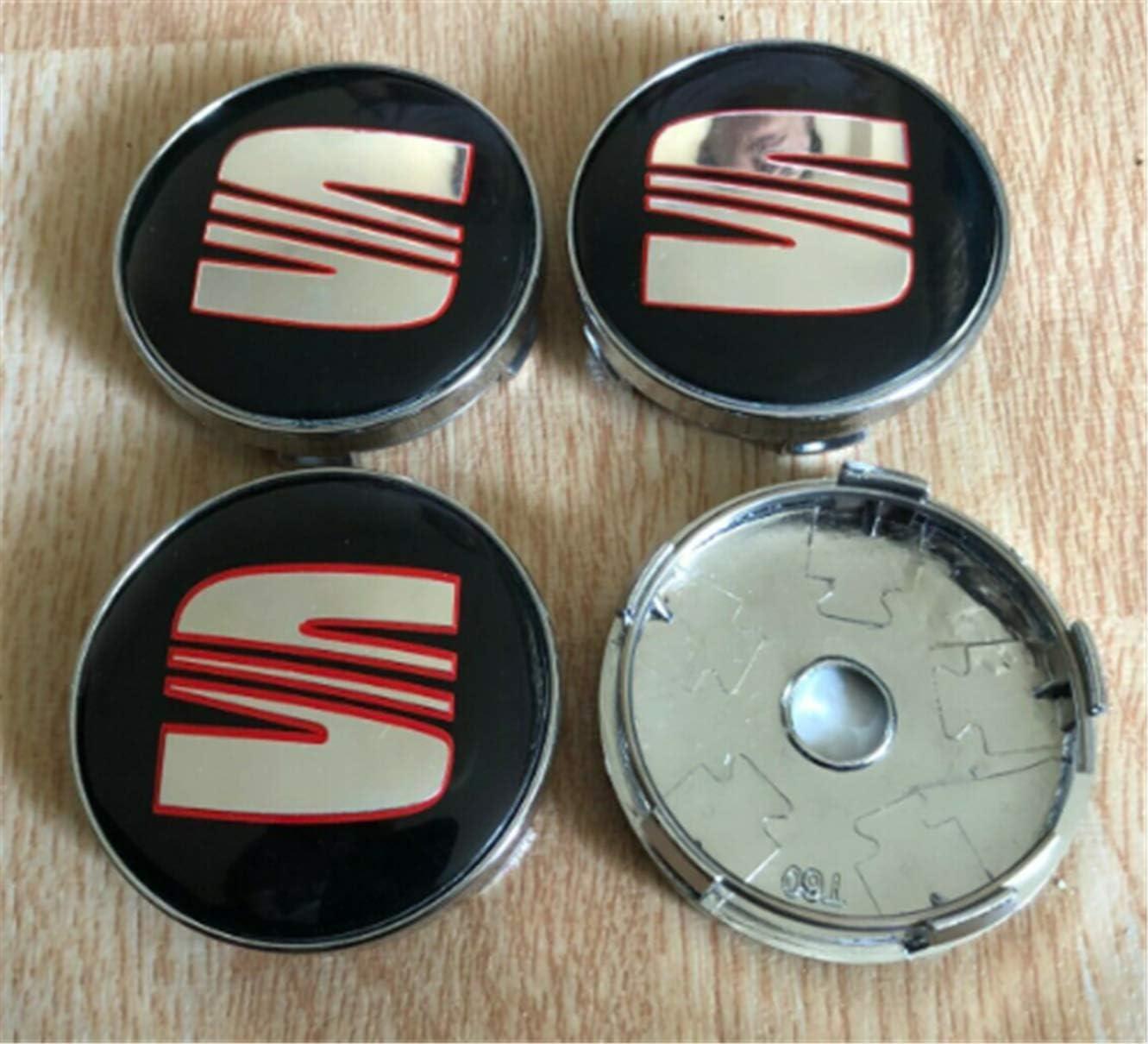 4pcs 60mm For Seat Wheel Center Caps Emblems Rim Caps Hub Caps Badges Red Black