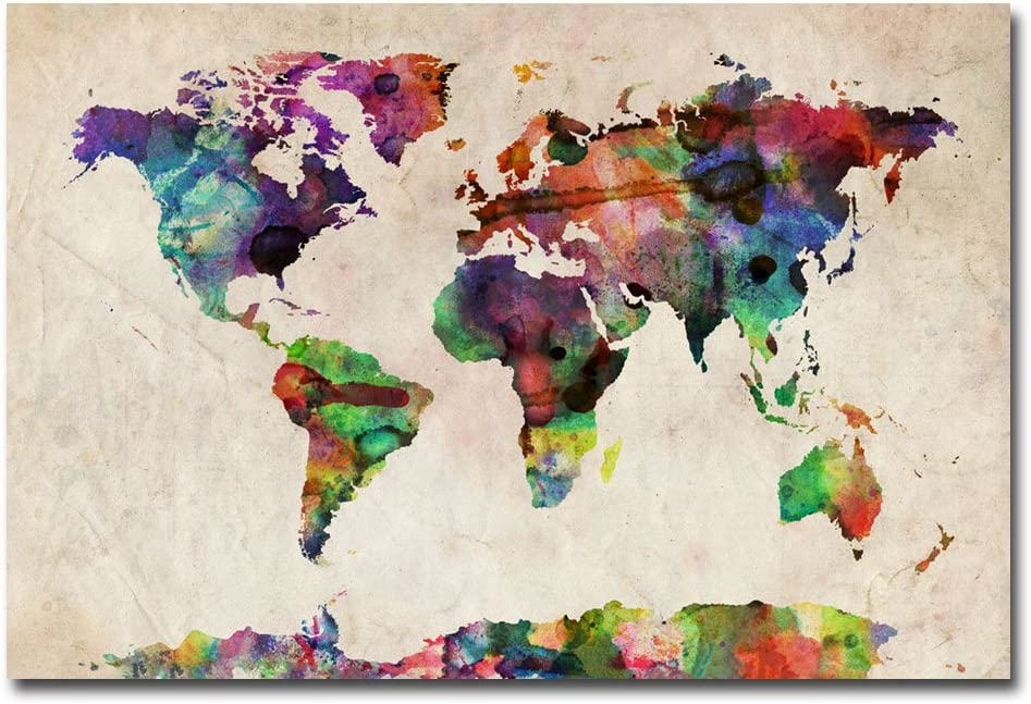 Amazon Com Urban Watercolor World Map By Michael Tompsett 22x32 Inch Canvas Wall Art Prints Posters Prints