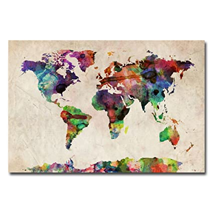 urban watercolor world map by michael tompsett 22x32 inch canvas wall art