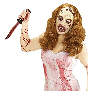 Mscara muerta viviente Antifaz ltex zombie con peluca Careta de