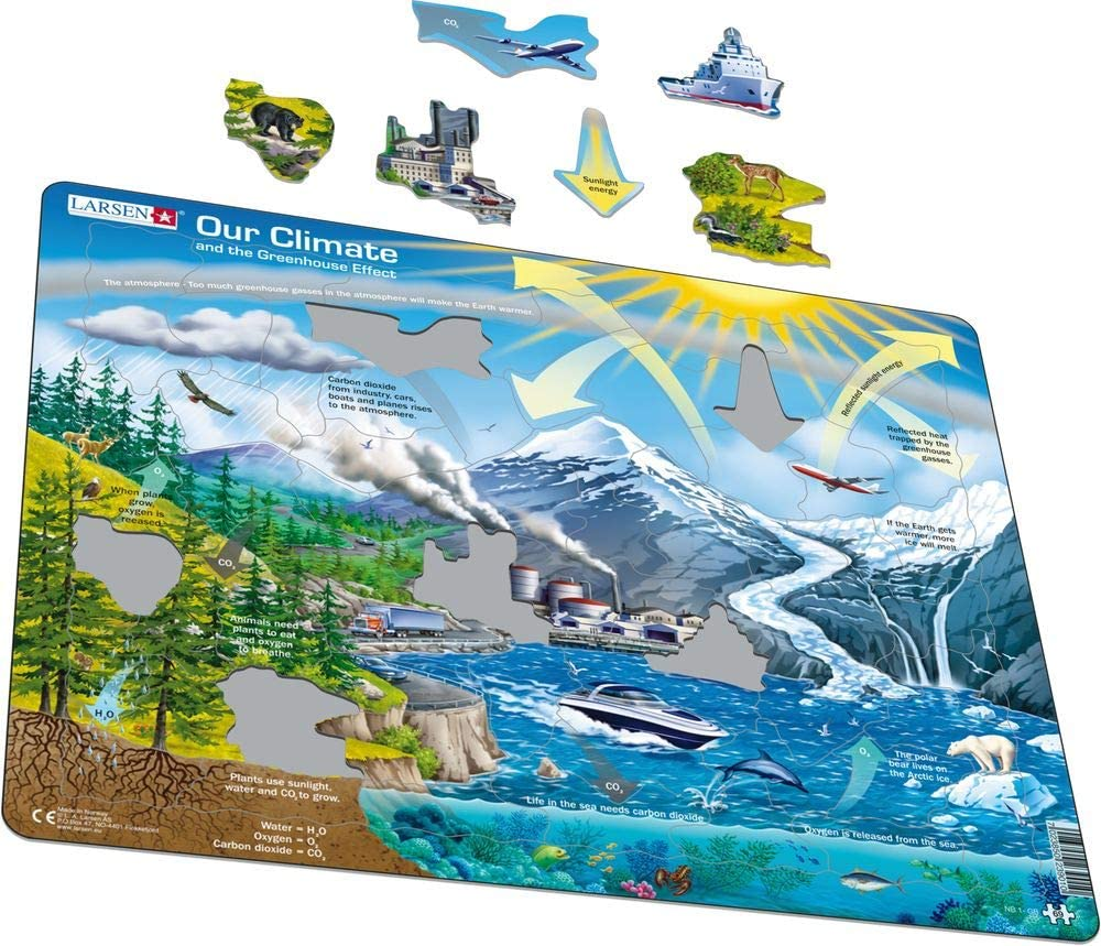 Larsen Climate Greenhouse Educational Jigsaw Puzzle Exclusive Premium Hand Made Puzzles 69 Piece Tray /& Frame Style Puzzle Imported from Norway