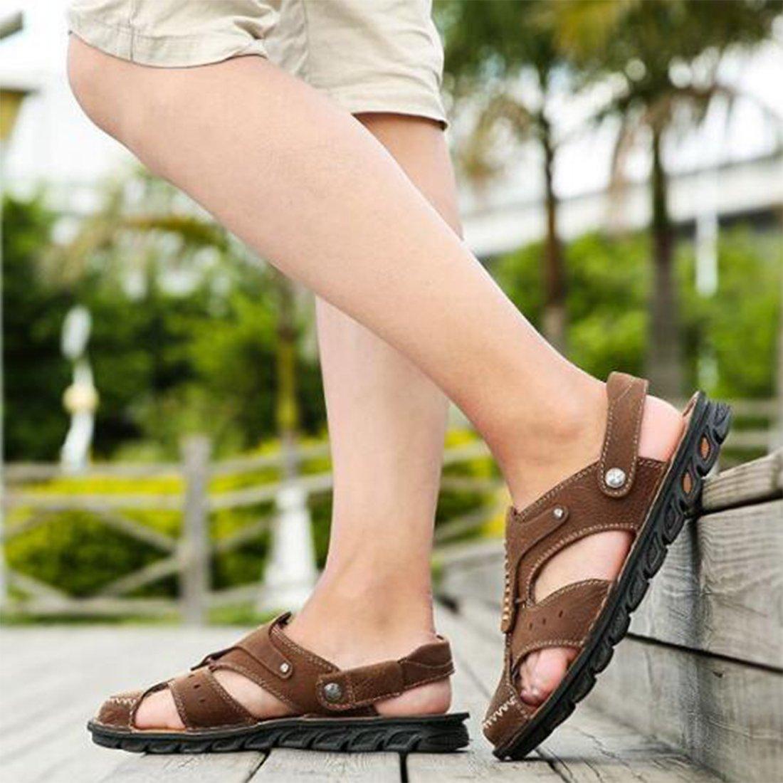ZHONGST Herren Sommer Leder Sandalen Im Sandalen Freien Strand Schuhe Casual Sandalen Im LightBraun 44c3be