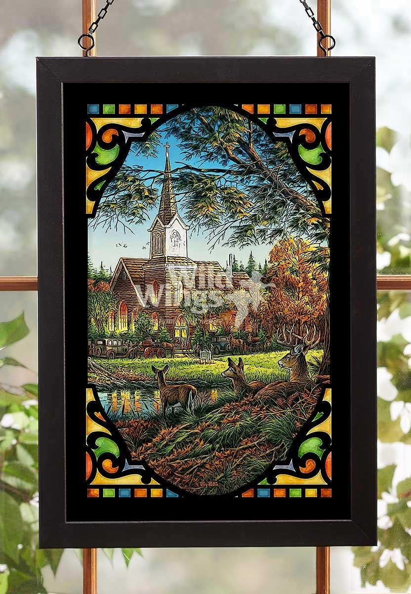 Wild Wings Sunday Morning Whitetail Deer Stained Glass Art by Terry Redlin 5386499007