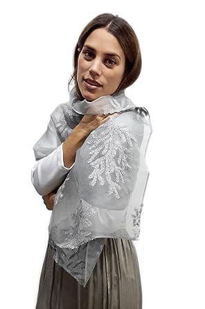 mitad de descuento f6f6e 00e70 BRANDELIA Estolas Fiesta Mujer Novia Chal Gasa Bordada Gris ...