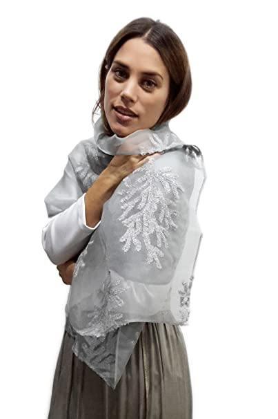 BRANDELIA Estolas Fiesta Mujer Novia Chal Gasa Bordada Gris Plateada para Vestidos de Fiesta
